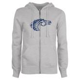 ENZA Ladies Grey Fleece Full Zip Hoodie-Horse Head