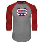 Grey/Red Raglan Baseball T Shirt-SW
