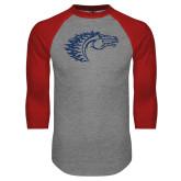 Grey/Red Raglan Baseball T Shirt-Horse Head