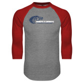 Grey/Red Raglan Baseball T Shirt-Mustangs Flat