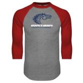 Grey/Red Raglan Baseball T Shirt-Primary Mark Distressed