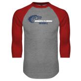 Grey/Red Raglan Baseball T Shirt-Mustang Baseball