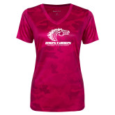 Ladies Pink Raspberry Camohex Performance Tee-Primary Mark