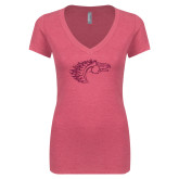 Next Level Ladies Vintage Pink Tri Blend V Neck Tee-Primary Mark Hot Pink Glitter
