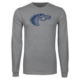 Grey Long Sleeve T Shirt-Horse Head