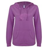 ENZA Ladies Berry V Notch Raw Edge Fleece Hoodie-Primary Mark Lilac Soft Glitter