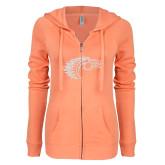 ENZA Ladies Coral Light Weight Fleece Full Zip Hoodie-Primary Mark White Soft Glitter