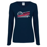 Ladies Navy Long Sleeve V Neck Tee-Volleyball Tournament