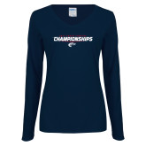 Ladies Navy Long Sleeve V Neck Tee-Cross Country Championship