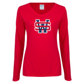 Ladies Red Long Sleeve V Neck Tee-SW