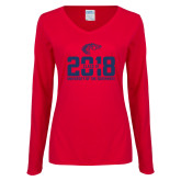 Ladies Red Long Sleeve V Neck Tee-Class of
