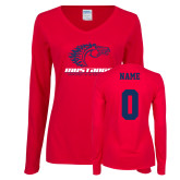 Ladies Red Long Sleeve V Neck Tee-Primary Mark, Custom Tee w/ Name and #