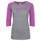 ENZA Ladies Athletic Heather/Violet Vintage Baseball Tee-Primary Mark Lilac Soft Glitter
