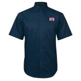 Navy Twill Button Down Short Sleeve-SW