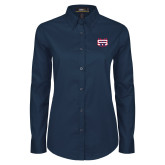 Ladies Navy Twill Button Down Long Sleeve-SW