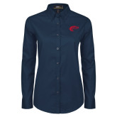 Ladies Navy Twill Button Down Long Sleeve-Horse Head
