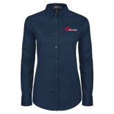 Ladies Navy Twill Button Down Long Sleeve-Mustangs Flat