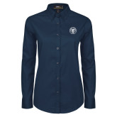 Ladies Navy Twill Button Down Long Sleeve-University Seal