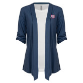 Ladies Navy Drape Front Cardigan-SW