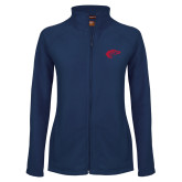 Ladies Fleece Full Zip Navy Jacket-Horse Head