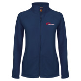 Ladies Fleece Full Zip Navy Jacket-Mustangs Flat