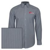 Mens Navy/White Striped Long Sleeve Shirt-Mustangs Flat