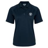 Ladies Navy Textured Saddle Shoulder Polo-University Seal