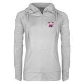 Ladies Sport Wick Stretch Full Zip White Jacket-SW