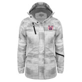 Ladies White Brushstroke Print Insulated Jacket-SW