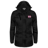 Ladies Black Brushstroke Print Insulated Jacket-SW