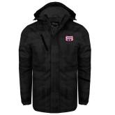Black Brushstroke Print Insulated Jacket-SW