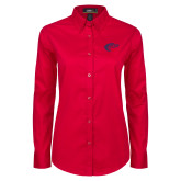 Ladies Red Twill Button Down Long Sleeve-Horse Head