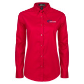 Ladies Red Twill Button Down Long Sleeve-Mustangs Flat