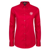 Ladies Red Twill Button Down Long Sleeve-University Seal