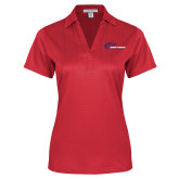 Ladies Red Performance Fine Jacquard Polo-Mustangs Flat