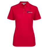 Ladies Easycare Red Pique Polo-Mustangs Flat