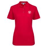 Ladies Easycare Red Pique Polo-University Seal