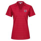 Ladies Red Horizontal Textured Polo-SW