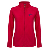 Ladies Fleece Full Zip Red Jacket-Horse Head