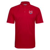 Red Textured Saddle Shoulder Polo-SW