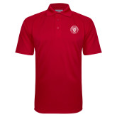 Red Textured Saddle Shoulder Polo-University Seal