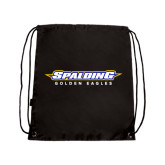 Black Drawstring Backpack-Word Mark