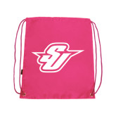 Nylon Pink Drawstring Backpack-Primary Mark