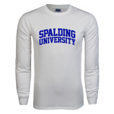 White Long Sleeve T Shirt-Spalding University Arched