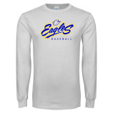 University White Long Sleeve T Shirt-Eagles Baseball