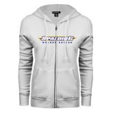 ENZA Ladies White Fleece Full Zip Hoodie-Word Mark