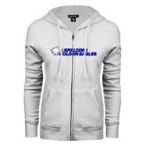 ENZA Ladies White Fleece Full Zip Hoodie-Spalding Golden Eagles