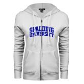 ENZA Ladies White Fleece Full Zip Hoodie-Spalding University Arched