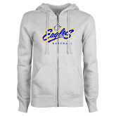 University ENZA Ladies White Fleece Full Zip Hoodie-Eagles Baseball
