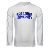 Performance White Longsleeve Shirt-Spalding University Arched